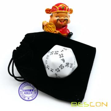 Bescon New Polyhedral Dice 60-sided Dice, D60 die, D60 dice, 60 Sides Dice, 60 Sided Cube of White Color