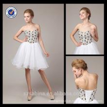 2013 New Fashion Wholesale Charming Mini Sweetheart Vestido de Organza Branco com Sparkly Crystals Evening Dress 6625