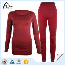 Sexy Women Long Johns Dark Red Seamless Underwear Sets