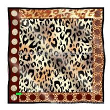 100% Silk custom scarf Leopard print scarf