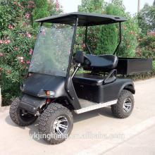 2 seats black gas utility vehicle with cargo box and off road tyre for sale