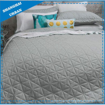Silver Solid Polyester Ultrasonic Coverlet Set