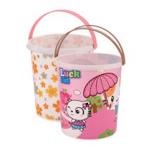 Fashion Printed Design Plastic Dust Bin with Handle (HL-097)