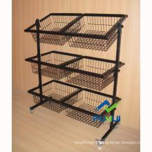 Adjustable Slanted Metal Basket Rack (PHY537)