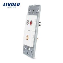 Livolo US Audio 3,5 mm et prise vidéo avec des prises de courant murales en verre de cristal blanc perle blanche VL-C5-1ADVD-11