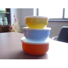 3pcs promotion enamel bowl with colorful