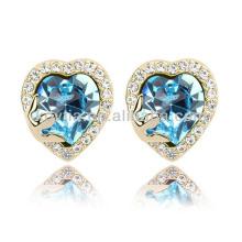 Women noble heart shape sapphire gemstone earrings ring jewelry wire