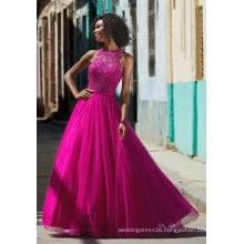 Halter Beaded Fuchsia Prom Dress (42095)