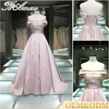 Rosa 2017 del vestido del estilo de la manera del hombro una línea vestido de bola