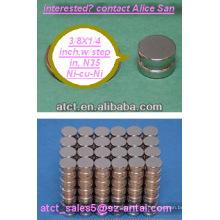 Gesinterten Neodym disk N35 9.53x6.35mm / Schritt in den Magneten für box