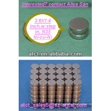 Sintered Neodymium disk N35 9.53x6.35mm / step in magnets for box