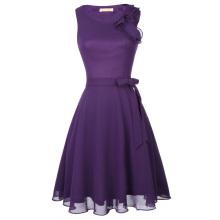 Kate Kasin Ladies Sleeveless Chiffon Short Purple Cocktail Evening Prom Party Dress KK001080-1