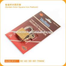 Titanio chapado grillete cuadrado cuadrado paleta clave candado deslizante tarjeta