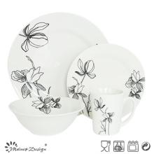 Elegant Porcelain 16PCS Dinner Set with Cut Decal