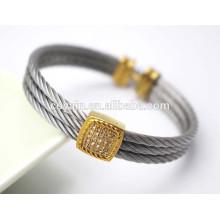Encanto de chapeamento de ouro fresco do vintage Bracelete de cabo-fio com cristais