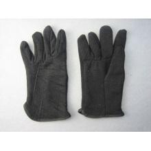 Schwarzer Jersey-Baumwollfleece gezeichneter Winter-Arbeitshandschuh-2107