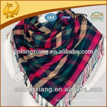 China Factory Wholesale Low MOQ Viscose et soie mélangé Plaid Pashmina Shawl Echarpe