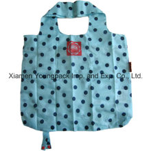 Polka Dots Promotional Custom Reusable 190t Nylon Foldable Shopping Tote Bag