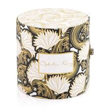 Custom flower patten luxury packaging side open cardboard paper round gift box