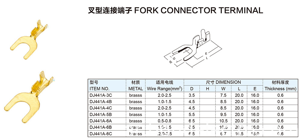FORK CONNECTOR TERMINAL PARAMETER