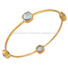 Best Sellate Blue Topaz Gold Vermeil 925 Sterling Silver Bangle