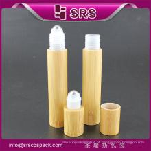15ml de alta qualidade e rolo de preço agradável em garrafa com bola de aço, garrafa de loção de bambu vazia