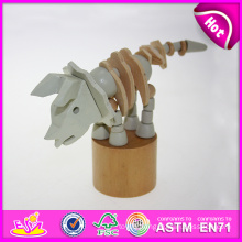 Hot New Product for 2015 Kids Toy Wooden Hand Push Toy, High Quality Wooden Toy Hand Toy, Hot Sale DIY Wooden Animal Toy W06D054
