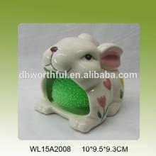Lovely conejo en forma de titular esponja de cerámica