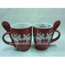 X'mas Mug with Stars & Deer with Spoon for BS130913
