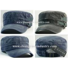 Nuevo diseño lavada gorra militar en blanco de algodón