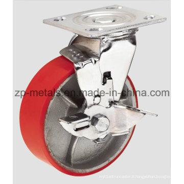 Roue à roulettes pivotante en fer robuste avec frein latéral