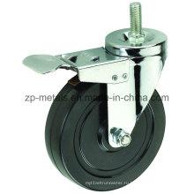 4 дюйма черный резиновый нитку Рицинус колеса с тормозом