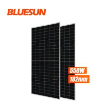 Bluesun best price ja solar panel 550w 540w 530w half cell solar panel 182mm placa solar panel 550w