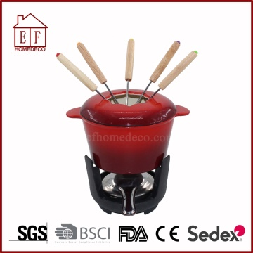 Enamel Cast Iron Cookware Chocolate Cheese Fondue Set