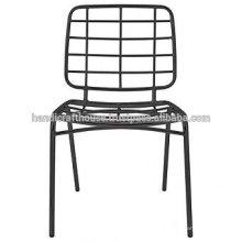 Chaise de salle à manger en métal métallique noire industrielle