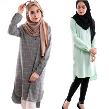 Modest fashion dubai fancy dresses muslim women printed plaid abaya indian long cotton muslim blouse