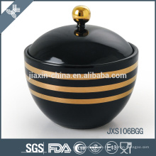 Schwarze Farbe Porzellan Candy Jar mit Deckel, Zucker Topf mit Gold Linie Aufkleber