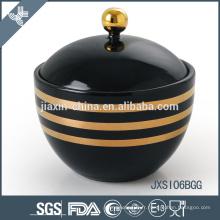 Pot de bonbons en porcelaine de couleur noire avec couvercle, pot de sucre avec décalque de ligne d'or