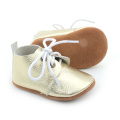 Hot Selling Real Leather Silver Baby Oxford Skor