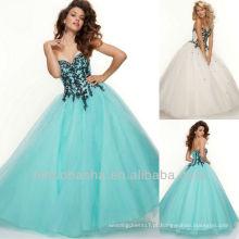 Ball Gown Sweetheart Black Lace Brush Train Corset Encerramento Quinceanera Vestido Dressing