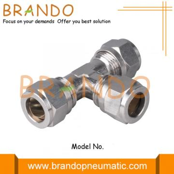 Union Tee Brass Pneumatic Compression Ferrule Tube Fittings