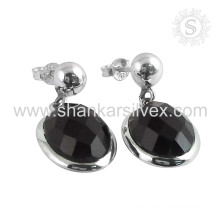 Black shiny silver earring jewelry 925 sterling black onyx gemstone wholesale handmaded jewellery supplier