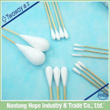 escobilla de algodón desechable de una sola cabeza con palo de bambú