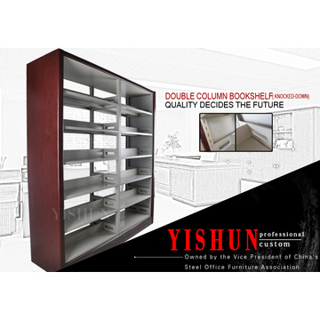 Hot selling school library furniture metal book rack book shelf with MDF surface
