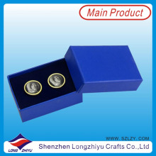 Cufflink Old Woman Photo Cufflink Finding with Epoxy Blue Cufflink Gift Box (LZY-00215)