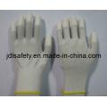 Luva de poliéster com PU dedo superior e pontos de PVC Mini (PN8108)