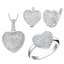 Heart Micro Pave Setting Silver Jewelry Set