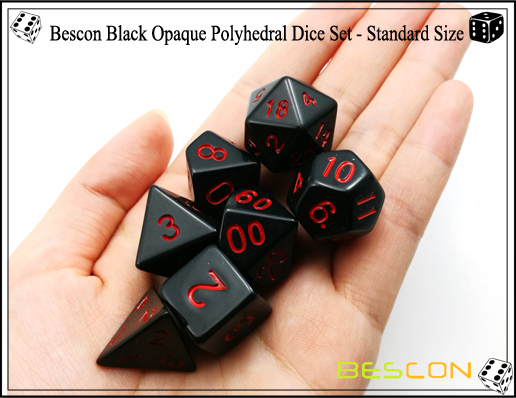 Bescon Black Opaque Polyhedral Dice Set-2