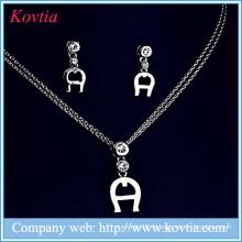 Rhodium en caoutchouc plaqué bijoux étiquette A bijoux ensemble artificiel bijoux en cristal