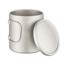 Copo de vidro duplo de titânio para caneca de café com tampa